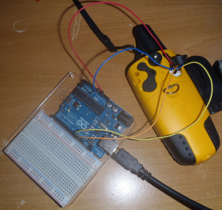 An Arduino wired up to a Garmin GPS 60