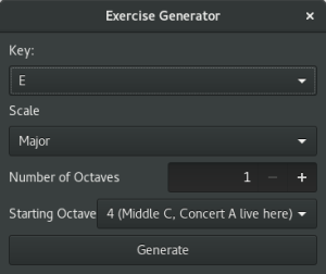 Screenshot of Exercise Generator Window